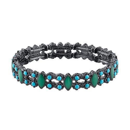 1928 Imitation Turquoise Stretch Bracelet