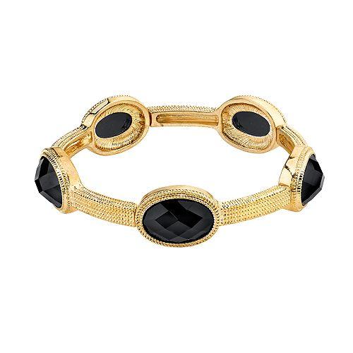 1928 Gold Tone Black Faceted Stretch Bracelet