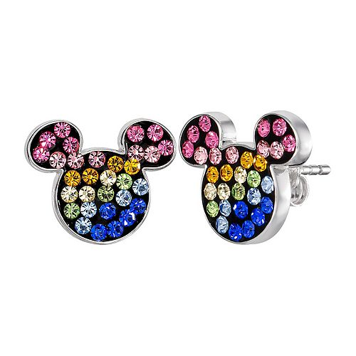 Disney's Mickey Mouse Sterling Silver Rainbow Cubic Zirconia Stud Earrings