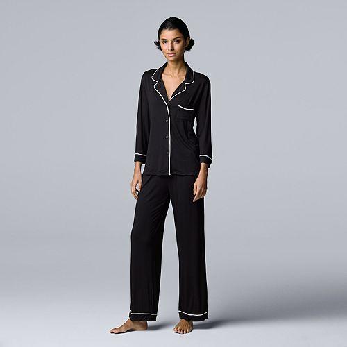 Women's Simply Vera Vera Wang 3/4 Sleeve Notch Pajama Set