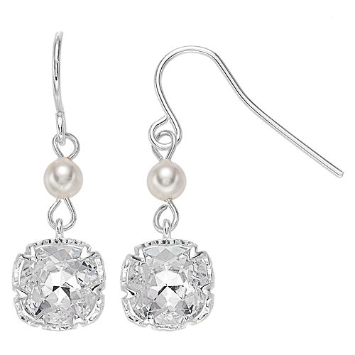 Brilliance Simulated Pearl Drop Earrings with Swarovski Crystal