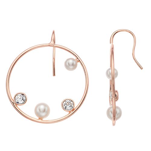 Brilliance Abstract Hoop Earrings with Swarovski Pearl & Swarovski Crystals