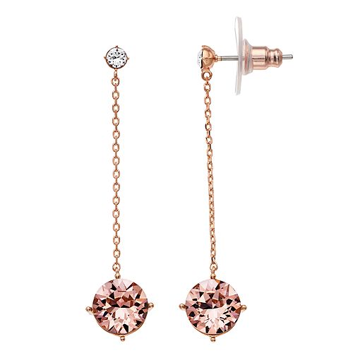 Brilliance Circle Chain Drop Earrings with Swarovski Crystals