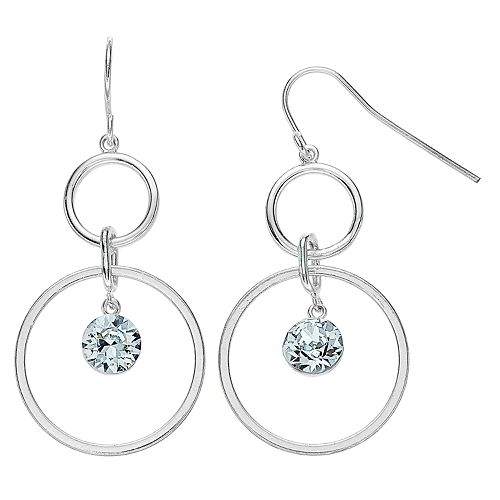 Brilliance Double Circle Drop Earrings with Swarovski Crystal