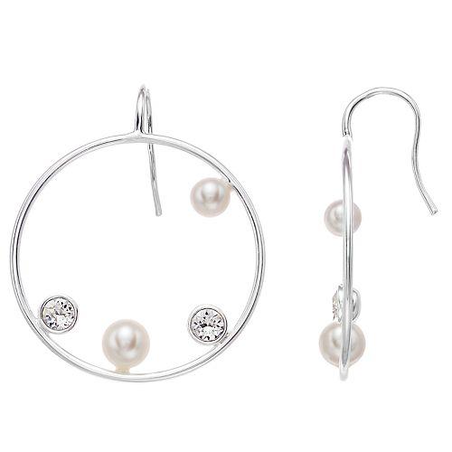 Brilliance Circle Earrings with Swarovski Crystal & Swarovski Pearl