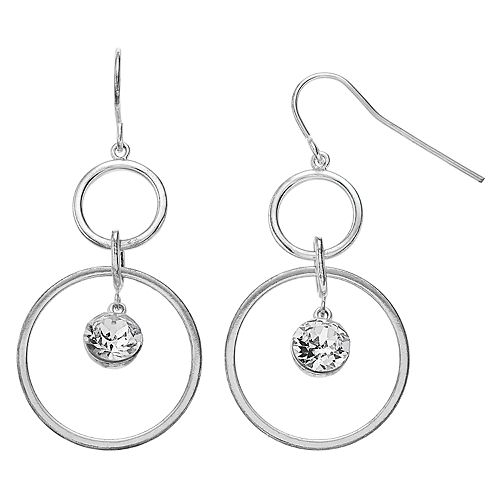 Brilliance Double Circle Drop Earrings with Swarovski Crystals