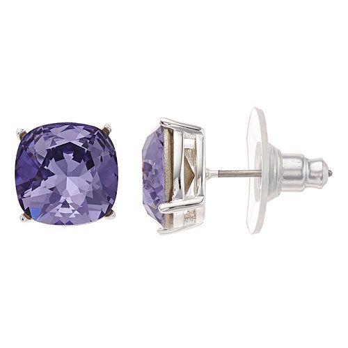 Brilliance Cushion Cut Stud Earrings with Swarovski Crystals