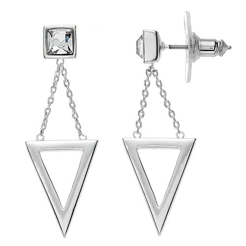 Brilliance Triangle Drop Earrings with Swarovski Crystals