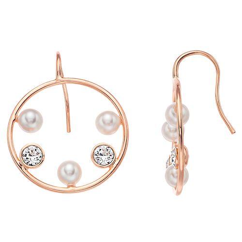Brilliance Abstract Hoop Earrings with Swarovski Pearl & Swarovski Crystals
