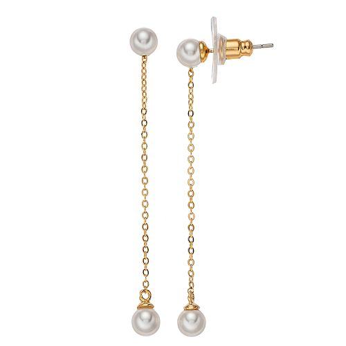 Brilliance Chain Drop Earrings with Swarovski Pearls