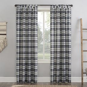 No 918 Blair Farmhouse Plaid Semi-Sheer Tab Top Window Curtain
