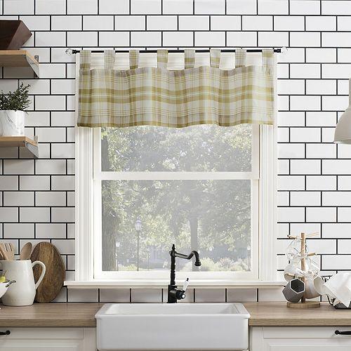 No 918 Blair Farmhouse Plaid Semi-Sheer Tab Top Kitchen Curtain Valance
