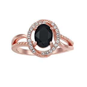 Brilliance Oval Jet Rose Gold Ring With Swarovski Crystals