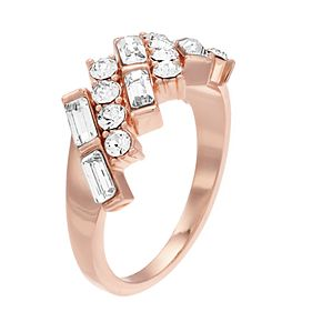 Brilliance Cluster Baguette Band Ring With Swarovski Crystals