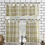 No. 918 Blair Farmhouse Plaid Semi-Sheer Tab Top Kitchen Curtain Valance & Tier Set