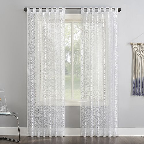 No 918 Hope Macrame Lace Sheer Tab Top Window Curtain