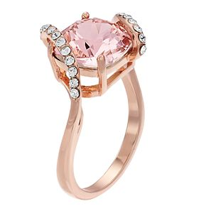 Brilliance Cushion Cut Wrapping Band Rose Gold Ring With Swarovski Crystals