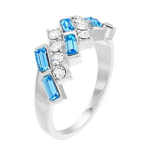 Brilliance Baguette Cut Cluster Ring With Swarovski Crystals