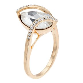 Brilliance Clear Pear Cut Gold Tone Ring With Swarovski Crystals