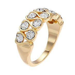 Brilliance Clear Round Stone Zigzag Ring With Swarovski Crystals