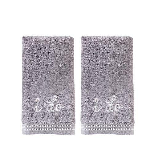 """SKL Home """"I Do"""" Diamond 2-piece Hand Towel Set"""