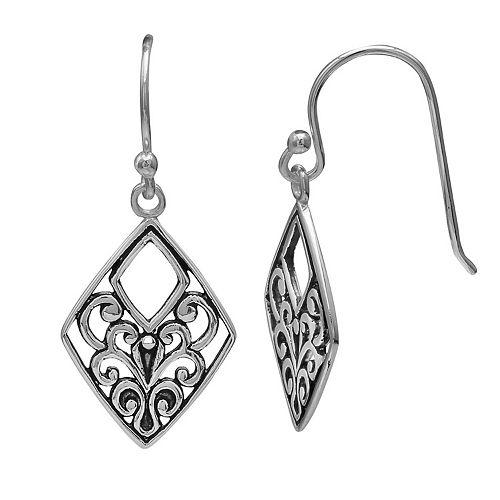 PRIMROSE Sterling Silver Diamond Shape Filigree Drop Earrings