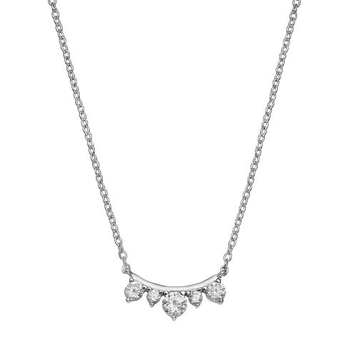 PRIMROSE Sterling Silver Cubic Zirconia Curved Bar Necklace