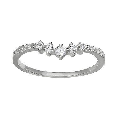 PRIMROSE Sterling Silver Graduated Cubic Zirconia Ring