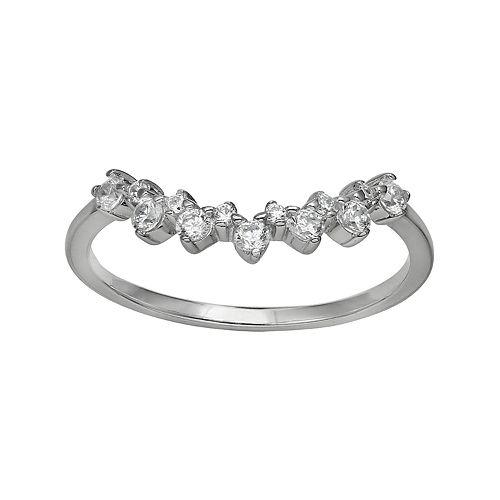 Primrose Sterling Silver Cubic Zirconia V-Shape Band Ring