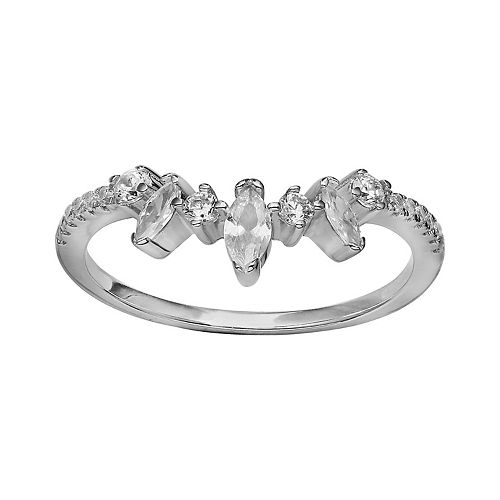 PRIMROSE Sterling Silver Marquise Cubic Zirconia Cluster Ring