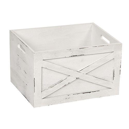 Soho Market Farmhouse White Wood Crate