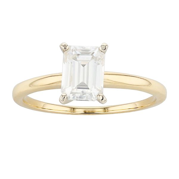Radiant Fire 14k Gold Lab Created Moissanite Solitaire Engagement Ring