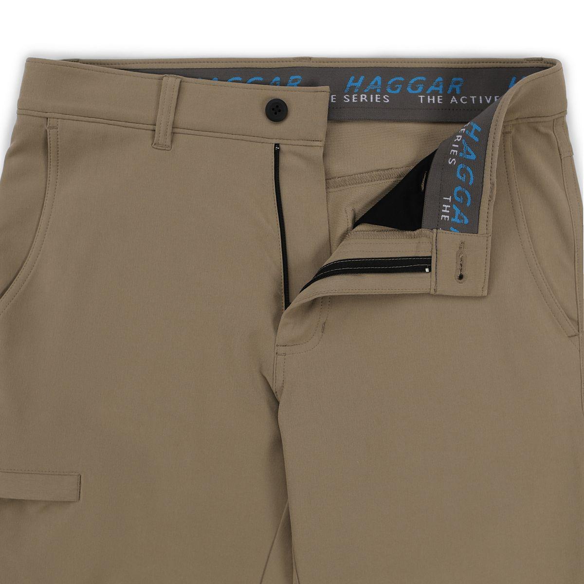 Men's Haggar® Active Series Slim-Straight Fit Flat-Front Urban Pants Black SRikr