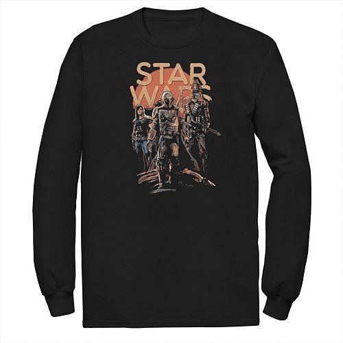 Men's Star Wars The Mandalorian Character Entourage Long Sleeve Graphic Tee