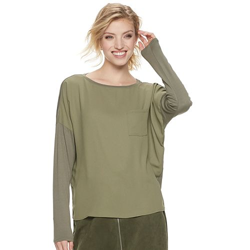 Women's Apt. 9® Long Sleeve Mix Media Tee