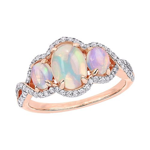 Stella Grace 10K Rose Gold 1/3 Carat T.W. Diamond & Opal Fashion Ring