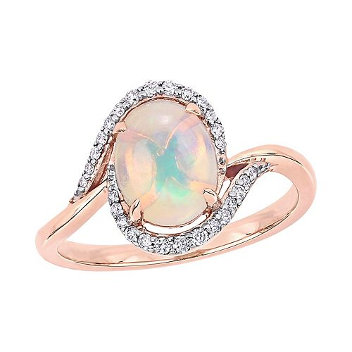 Stella Grace 10K Rose Gold 1/7 Carrot TW Diamond & Opal Fashion Ring