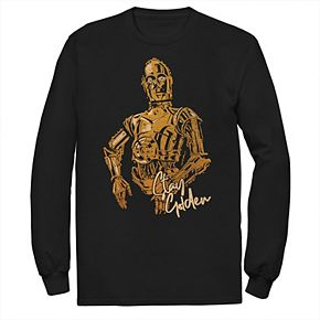 Men's Star Wars The Rise of Skywalker C-3PO Stay Golden Long Sleeve Graphic Tee