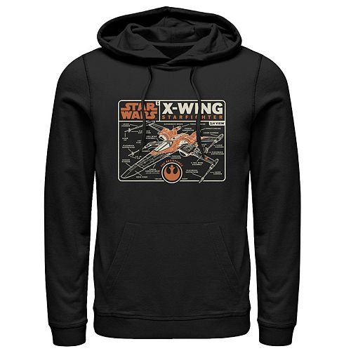 Men's Star Wars The Rise of Skywalker X-Wing Schematic Frame Graphic Hoodie