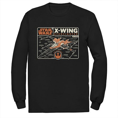 Men's Star Wars The Rise of Skywalker X-Wing Schematic Frame Long Sleeve Graphic Tee