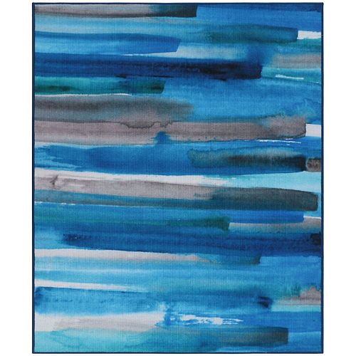 RugSmith Turquoise Cerulean Contemporary Modern Area Rug
