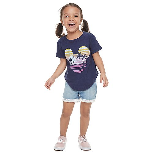 Disney's Mickey Mouse Toddler Girl Navy Blue Graphic Tee by Family Fun™