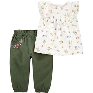 Baby Girl Carter's 2-Piece Floral Jersey Top & Linen Pant Set