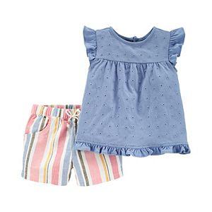 Baby Girl Carter's 2-Piece Chambray Top & Linen-Blend Short Set