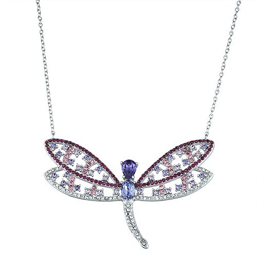 Sterling 'N' Ice Sterling Silver Crystal Dragonfly Necklace