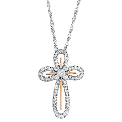 Sterling 'N' Ice Sterling Silver Cross Pendant Necklace with Swarovski Crystal