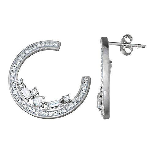 Sterling 'N' Ice Sterling Silver C-Hoop Earrings with Swarovski Crystal