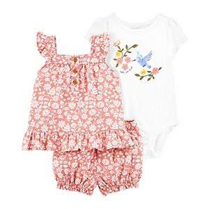 Baby Girl Carter's 3-Piece Floral Hummingbird Outfit Set
