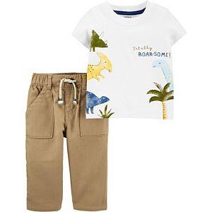 Baby Boy Carter's 2-Piece Dinosaur Jersey Tee & Khaki Pant Set