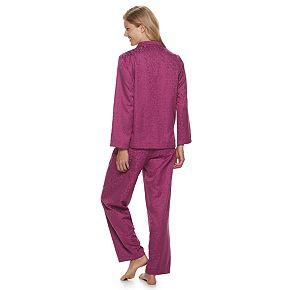 Petite Miss Elaine Essentials Brushed Back Satin 2-Piece Pajama Set
